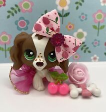 Authentic Littlest Pet Shop # 156 Brown White Spaniel Freckles Green Eyes