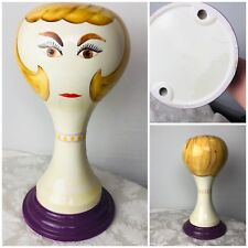 """Vintage Stangl Pottery Ceramic Mannequin Head Hat Wig Stand 15"""" limited to 1968"""