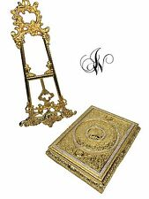 Quran cover box in beautiful gold colour with crystal diamante (Large)