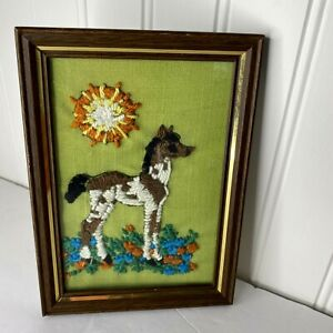 Vintage Crewel Yarn Hand Stitched Horse Picture Wood Frame Farmhouse Sun 1978