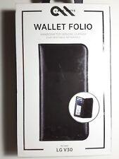 Case Mate Black Leather Wallet Folio Credit Card Case For LG V30 Black