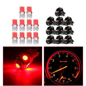 10x Red T10 168 194 LED Lamp Bulb Instrument Gauge Cluster Dash Lights W/ Socket