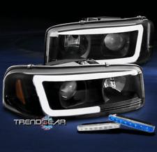 FOR 2000-2006 GMC SIERRA YUKON XL DENALI LED BLACK PROJECTOR HEADLIGHT +BLUE DRL