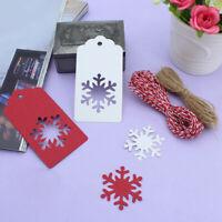 50Pcs Christmas Tree Snowflake Kraft Paper Hang Gift Tags Wedding Favor Label