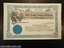 Vintage Unused Deer Lodge Livery Company stock certificate no. 48