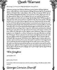 Salem Mass Witch Trial Death Warrant