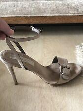$620 Stella McCartney Heeled Ankle Strap Vegan Neutral Sandals Sz 40 / US 9.5