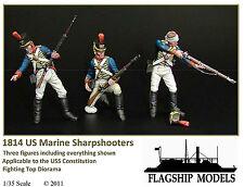 FLAGSHIP MODELS 1/35 Scale 1814 Era US Marine Sharp Shooters (3 Figures)