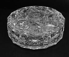 Vintage 2-pc Clear Glass Starburst Pattern Vanity Trinket Dish w/ Lid GUC