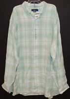 Polo Ralph Lauren Big & Tall Mens Green Plaid Linen Button-Front Shirt NWT 4XLT