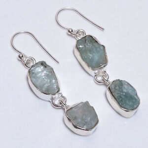 925 Sterling Silver Earrings, Natural Raw Aquamarine Gemstone Jewelry RSE994