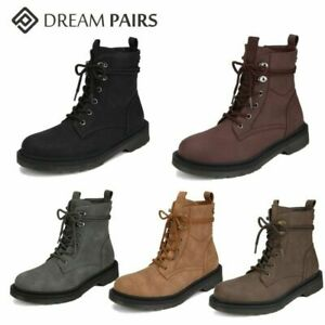 DREAM PAIRS Womens Winter Combat Booties Lace Up Round Toe Ankle Boots Shoes