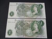 1970 B322 J B PAGE PAIR UNCIRCULATED £1 NOTES CONSECUTIVE LAST SERIES BANKNOTES.