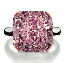 4.20Ct Pink Cushion Shape Stone Solitaire Engagement Ring In 925 Sterling Silver