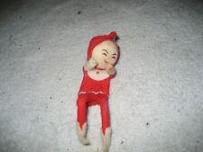 Vintage Christmas Santa red elf Knee hugger felt Pixie ornament japan 5''
