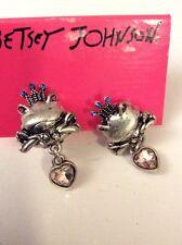 Betsey Johnson Silver Tone Frog Stud Earrings $ 35