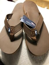 13efd1ad904d Vineyard Vines Mens Leather Flip Flops Size 13 Mudslide NWT Free Shipping