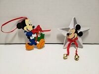 Vintage Lot of 2 Santa's Kurt Adler Walt Disney Mickey Mouse Christmas Ornaments