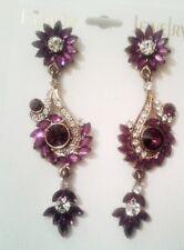 Pierced ear rings/diamante/silver