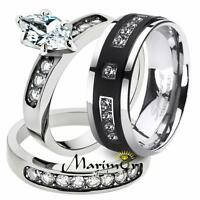 His & Her 3pc Marquise Stainless Steel Bridal Set & Men's Titanium Wedding Band
