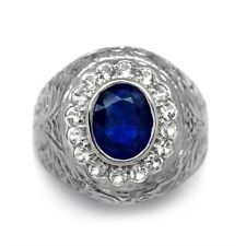 9x7mm Royal Blue Natural Sapphire Man Ring With White Topaz in 925 Silver