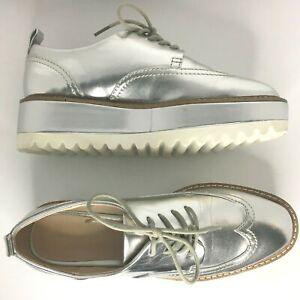 ZARA Silver Wedge Platform Brogues Flatforms Shoes 36 3.5 Trinny Stella style!