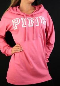 Victoria's Secret PINK Hoodie Lightweight Sweatshirt Tunic Logo Top NWT