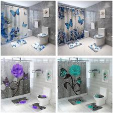 4Pcs/Set Butterfly Rose Waterproof Shower Curtain Toilet Lid Cover Bathroom Mat