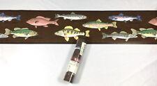 Waverly Wallpaper Border Brown River Fish Trout Salmon Perch Lake Cabin Bass