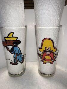 Slow Poke Rodriguez & Yosemite Sam 1973 Looney Tunes Pepsi Glasses Warner Bros