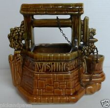 Vintage McCoy USA Art Pottery Wishing Well Planter Original Chain Intact