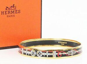 Authentic HERMES Goldtone and Black, White, Red Design Enamel Bracelet GM #37192
