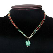 """Turquoise,Coral Gemstone Tibetan Style 925 Sterling Silver Necklace Jewelry 16"""""""