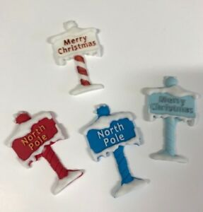 2  MERRY CHRISTMAS/ NORTH POLE PLAQUE edible sugar cake decorations toppers