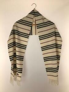 Authentic Burberry Black label white striped 100% cashmere scarf 30cm x 175cm