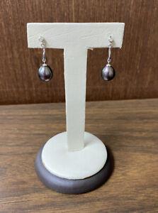 Beautiful 14KT White Gold Tahitian Pearl w/ Diamond Dangle Drop Earrings