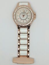 Henley ladies fashion white rose gold diamanté crystal fob watch