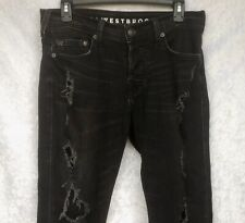 True Religion Rocco Westbrook Relaxed Skinny Jeans Torn Holes Distressed 29 x 34
