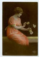 c 1920 Glamour Glamor PICKING PETALS FLOWER beauty Lady photo postcard