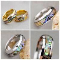 Fashion Mens Womens Abalone Shell Band Stainless Steel Ring Unisex Jewelry