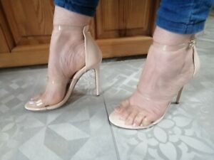 MissGuided Stiletto Heels Pink/Clear Size UK6
