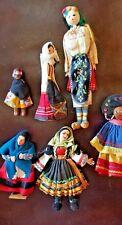 "6 Ethnic Native Souvenir Dolls Wooden Plastic 3 1/2""-9"" Girls Vintage Clothing"