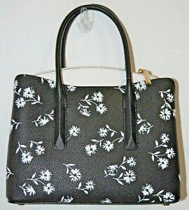 NWT Kate Spade Black White Dandelion Floral Margaux Medium Satchel Bag Purse