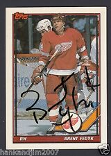 Brent Fedyk Autographed 1991-92 Topps Hockey Card #376 Red Wings JSA