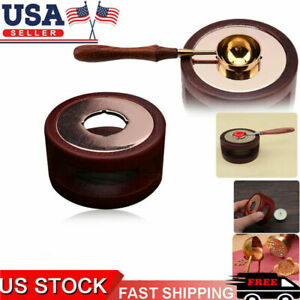 Vintage Wax Seal Stamp Warmer Furnace Stove Pot Melting Spoon Kit Set Stamp-Tool