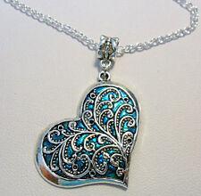 36mm heart, filigree + blue pendant - 18'' chain