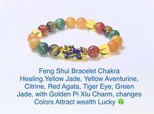 """7.5"""" Natural Chakra Gemstone Bracelet.Golden Pi Xiu Charm, Moods changes Color"""