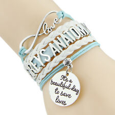 Grey's Anatomy inspired Bracelet with quote: It's a beautiful day to save lives