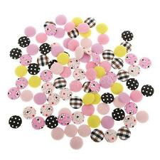 100 Round Fabric Covered Button Flatback Jewelry Accessory DIY Garment 15mm
