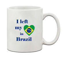 I Left My Heart In Brazil Flag Country Ceramic Coffee Tea Mug Cup